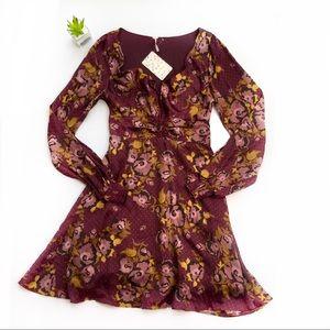 Free People | purple boho floral fall dress new